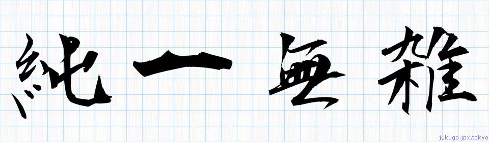 純一無雑の書き方 四字熟語「純一無雑」習字
